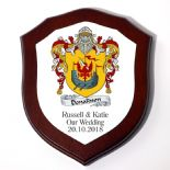 Wedding or Anniversary Family Crest Coat of Arms 6 inch Shield Plaque PERSONALISED, ref FCWM
